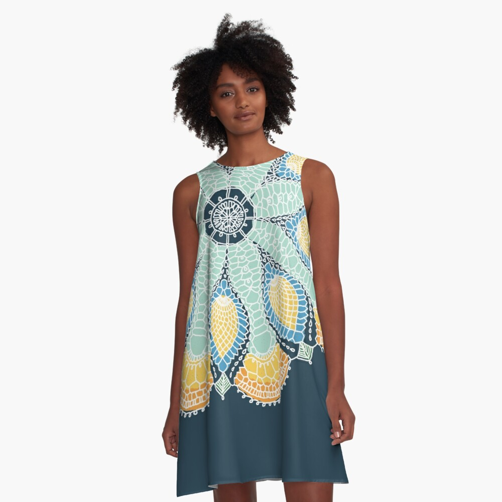 Magic Snowflake by KC Hill on A-line Dress